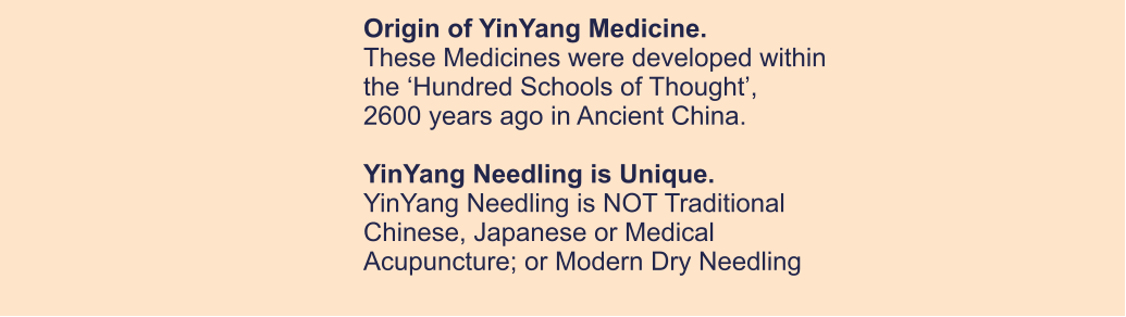 Origin of YinYang Medicine. These Medicines were developed within  the 'Hundred Schools of Thought',  2600 years ago in Ancient China.  YinYang Needling is Unique. YinYang Needling is NOT Traditional  Chinese, Japanese or Medical Acupuncture; or Modern Dry Needling